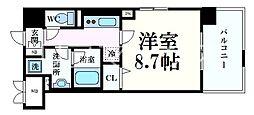 シェリール六甲道 3階1Kの間取り