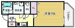 JR大阪環状線 福島駅 徒歩5分の賃貸マンション 5階1Kの間取り