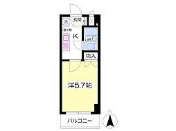 JR東北本線 福島駅 徒歩5分の賃貸マンション 5階1Kの間取り