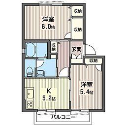 メビュース東城南H[1階]の間取り
