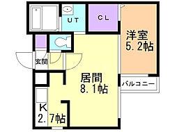 グランラヴィーヌ豊平 4階1LDKの間取り