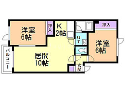 Nハウス 2階2LDKの間取り