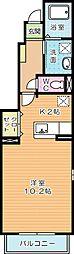 福岡県北九州市小倉南区中曽根5丁目の賃貸アパートの間取り