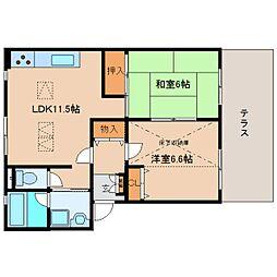 奈良県香芝市高山台3丁目の賃貸マンションの間取り