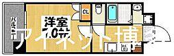 福岡市地下鉄七隈線 薬院駅 徒歩5分の賃貸マンション 20階1Kの間取り