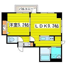 札幌市営南北線 北18条駅 徒歩10分の賃貸マンション 6階1LDKの間取り