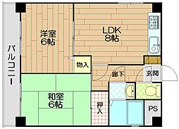 グランドーレ東須磨[2階]の間取り