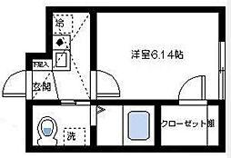 エスポワール杉田[203号室]の間取り