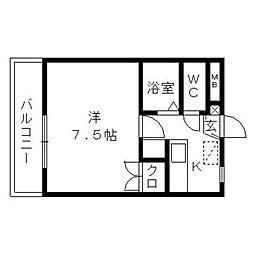静岡県浜松市中区曳馬4丁目の賃貸マンションの間取り