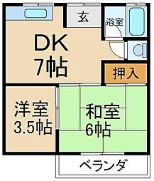 大阪府寝屋川市香里西之町の賃貸アパートの間取り