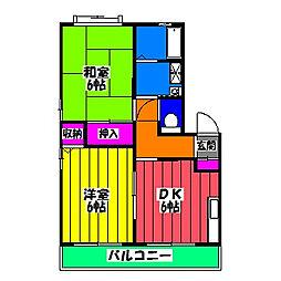 福岡県福岡市博多区板付2丁目の賃貸アパートの間取り