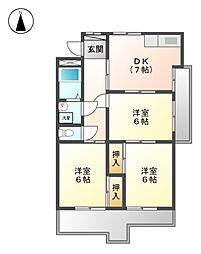 藤本コ−ポ[3階]の間取り