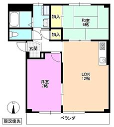 長野県松本市平田西2丁目の賃貸アパートの間取り