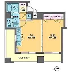 東京メトロ有楽町線 新富町駅 徒歩2分の賃貸マンション 9階1DKの間取り