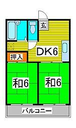 川口城北マンション[5階]の間取り
