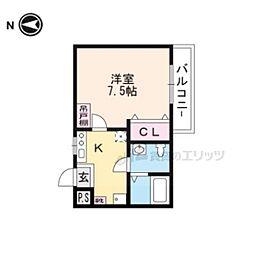 京阪本線 藤森駅 徒歩5分の賃貸マンション 3階1Kの間取り