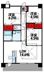 ルネス福間駅東[3階]の間取り