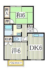 関川ハイツB[1階]の間取り