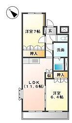 広島県福山市平成台の賃貸アパートの間取り