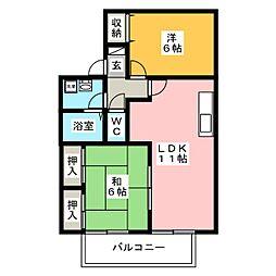 セジュール名島[2階]の間取り