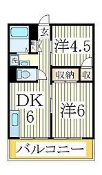 マリーナマンション北柏[2階]の間取り