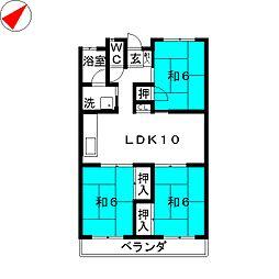 コーポ鶴畑[2階]の間取り