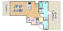 SOL池田 6階ワンルームの間取り