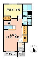 栃木県芳賀郡益子町大字大沢の賃貸アパートの間取り