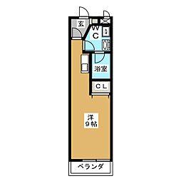 ユメックス-10 4階ワンルームの間取り