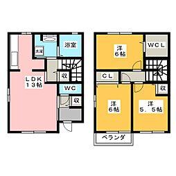 [テラスハウス] 静岡県浜松市中区佐鳴台3丁目 の賃貸【/】の間取り