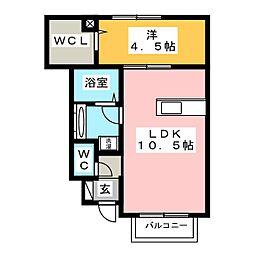 プレジオ登呂[1階]の間取り