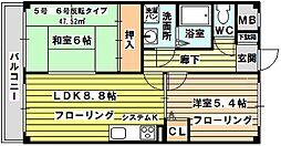 シャトレー新大阪[105号室]の間取り