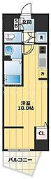 アクアプレイス天王寺III 5階1Kの間取り