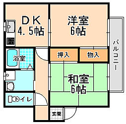 兵庫県宝塚市平井3丁目の賃貸アパートの間取り