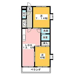 ファミール中央[5階]の間取り
