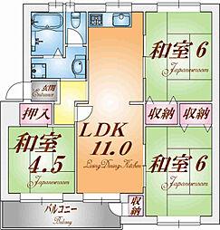 高倉台9団地38号棟[1階]の間取り