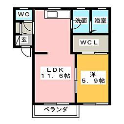 ハーミテージ[1階]の間取り
