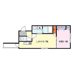 フジパレス岩田町II番館[3階]の間取り