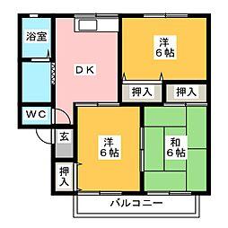 リリーハイツトキワ A棟[2階]の間取り
