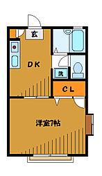 東京都国分寺市東恋ケ窪の賃貸アパートの間取り