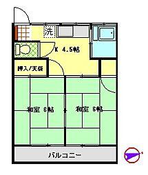 平野ハイツ[202号室号室]の間取り