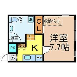 愛知県名古屋市中区伊勢山1丁目の賃貸アパートの間取り