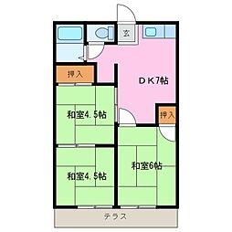 東日野ハイツ A棟[1階]の間取り