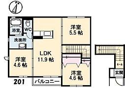 グランドメゾンKyamo B棟[2階]の間取り