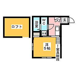 マ・ピエス西生田4 2階1Kの間取り
