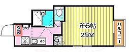 ピュア別府参番館 2階1Kの間取り