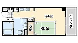サンライフ尾崎 3階1Kの間取り
