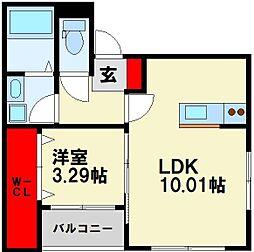 JR筑豊本線 若松駅 徒歩18分の賃貸アパート 2階1LDKの間取り