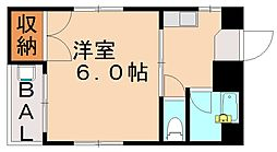 福岡県福岡市城南区片江1丁目の賃貸マンションの間取り