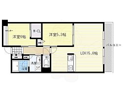 北大阪急行電鉄 千里中央駅 徒歩11分の賃貸マンション 4階2LDKの間取り
